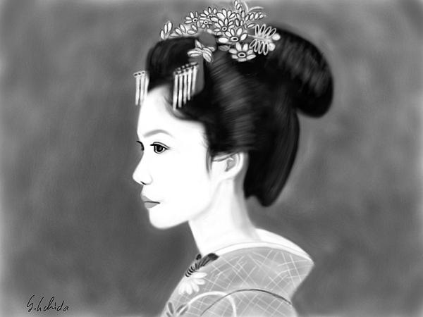 Ipad Painting - Geisha No.138 by Yoshiyuki Uchida