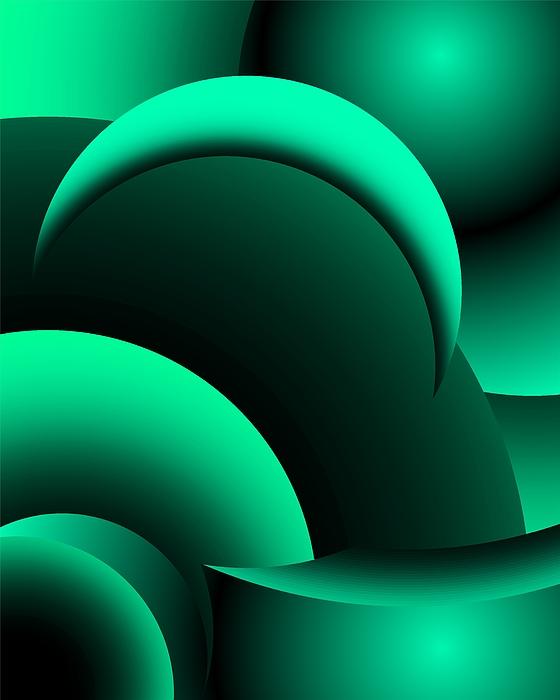 Fine Art Digital Art - Geometric Abstract In Green by David Lane