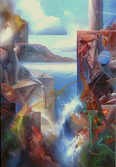 Abstract Painting - Geometric Landscape by Jerry Jacoby