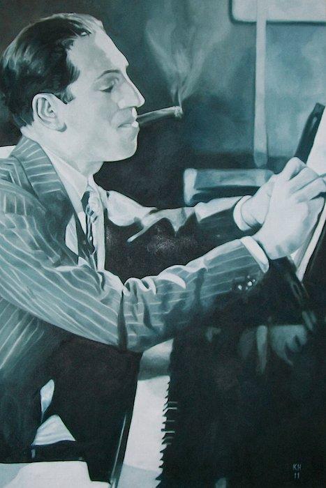 George Gershwin Painting - George Gershwin 1930s. by Kevin Hopkins