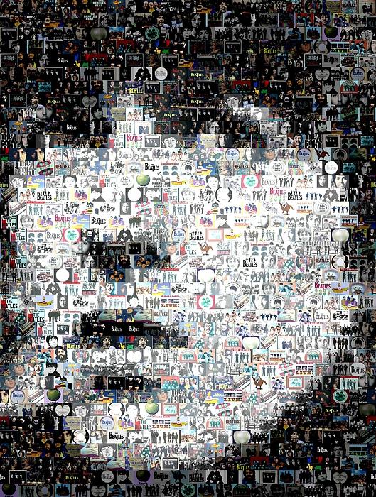 The Beatles Digital Art - George Harrison Mosaic by Paul Van Scott