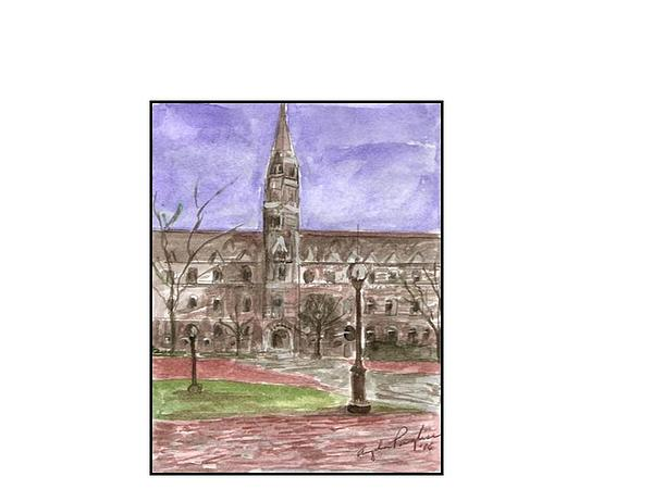 Georgetown University Healy View Painting by Angela Puglisi