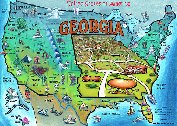Georgia Usa Cartoon Map Painting By Kevin Middleton - Maps of georgia usa
