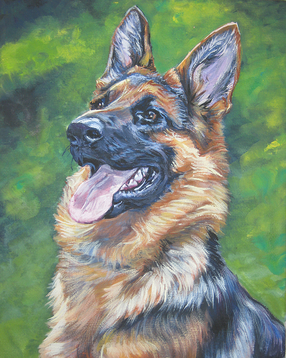 German Shepherd Painting - German Shepherd Head Study by Lee Ann Shepard