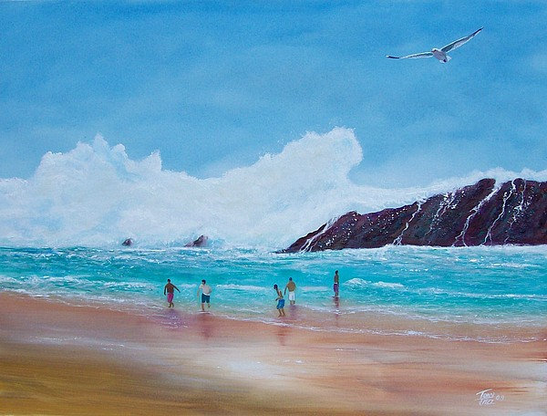 Seascape Painting - Get Off The Beach by Tony Rodriguez