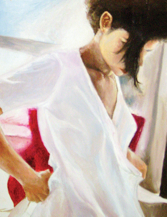 Oil Painting - Getting Dressed by Anne Thouthip