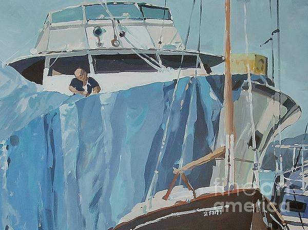 Marina Boats Sail Sport Painting - Getting Ready by Andrew Drozdowicz