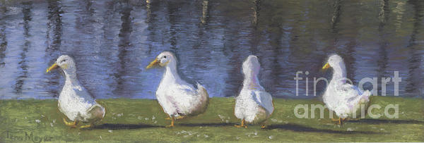 Ducks Painting - Getting Your Ducks In A Row by Terri  Meyer