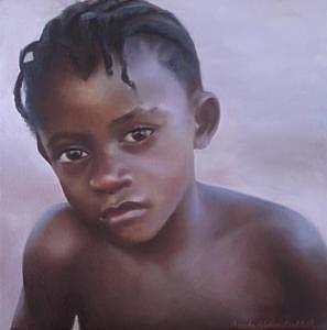 African Boy Painting - Ghana Boy by Brooke Walker-Knoblich