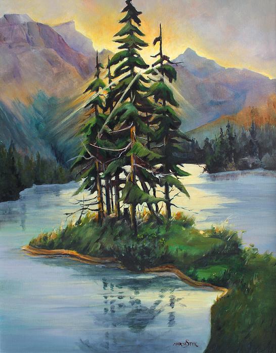 Landscape Painting - Ghost Island Near Jasper by Marta Styk