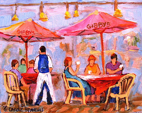 Montreal Painting - Gibbys Cafe by Carole Spandau
