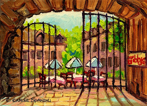 Montreal Painting - Gibbys Restaurant In Old Montreal by Carole Spandau
