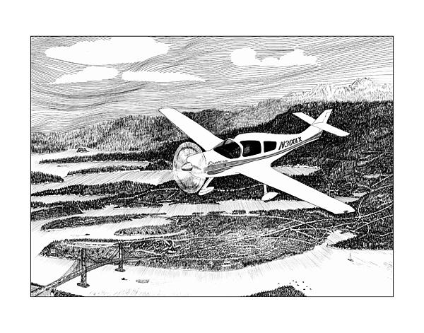 Framed Prints Of Flying Over Gig Harbor Drawing - Gig Harbor Flyover by Jack Pumphrey
