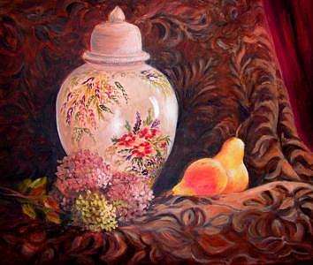 Still Life Painting - Ginger Jar And Flowers by Nita Leger Casey