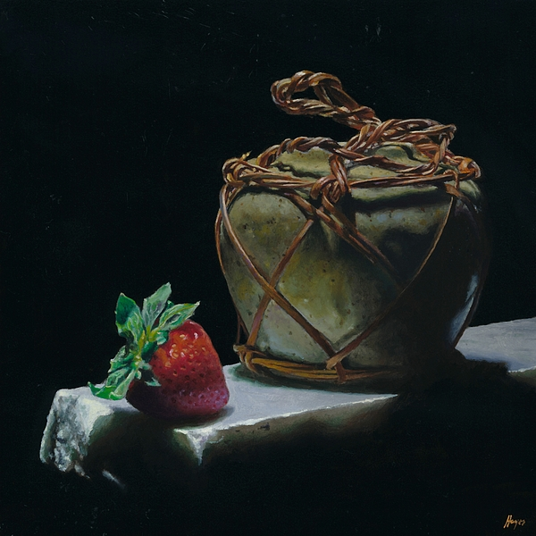 Ginger Jar And Strawberry Painting by Jeffrey Hayes