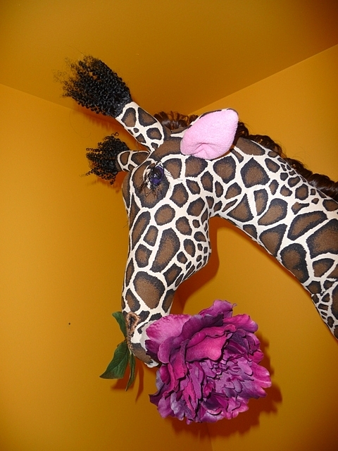 Purple Rose Sculpture - Giraffe With Purple Rose by Cassandra George Sturges