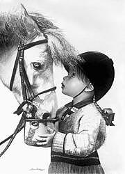 Girl Feeding Horse Drawing by Sherrie Kostura