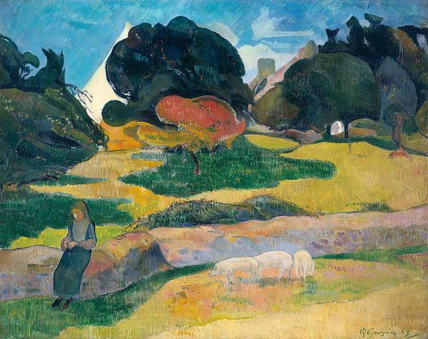 Girl Painting - Girl Herding Pigs by Paul Gauguin