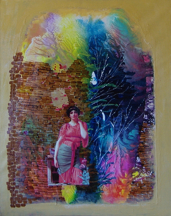 Women Painting - Girl In Front Of The Break Wall. by Sima Amid Wewetzer