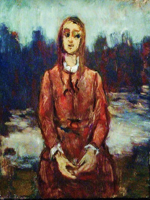 Portrait Painting - Girl In The Red Apron by Jean pierre  Harixcalde