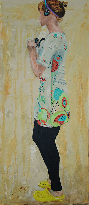 Portrait Painting - Girl In The Yellow Shoes by Kevin Callahan