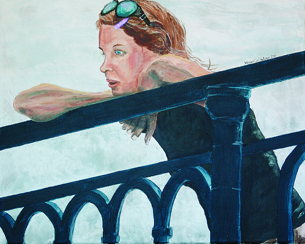 Amsterdam Painting - Girl On The Rail by Kevin Callahan