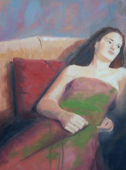 Evening Dress Painting - Girl Sitting On A Couch by Belgin Yucelen