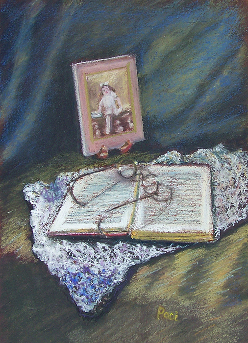 Still Life Painting - Girl With A Book by Laurie Paci