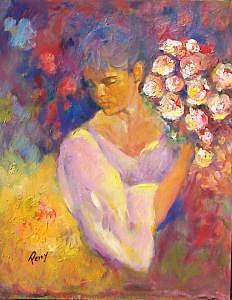 Painting Painting - Girl With Bundle Of Flowers by Perry  Rubenstein