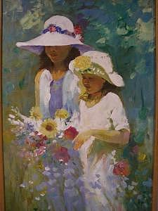 Painting Painting - Girl With Easter Hats by Perry  Rubenstein
