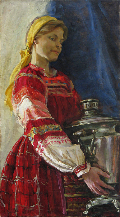 Girl With Samovar Painting by Korobkin Anatoly