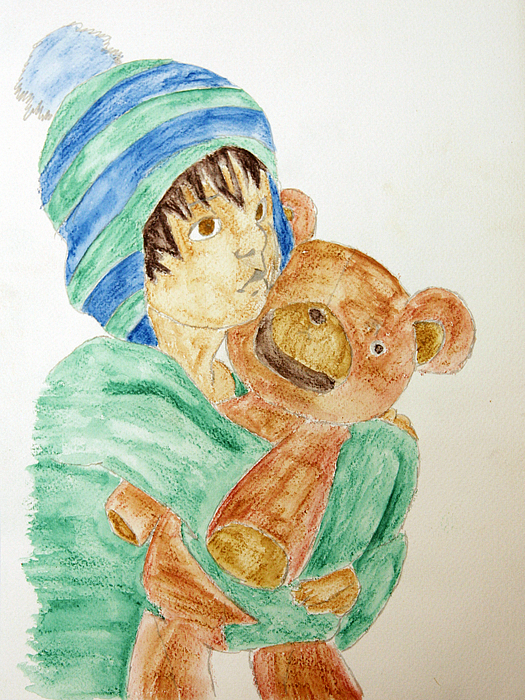 Girl Painting - Girl With Teddy by Ruedi M