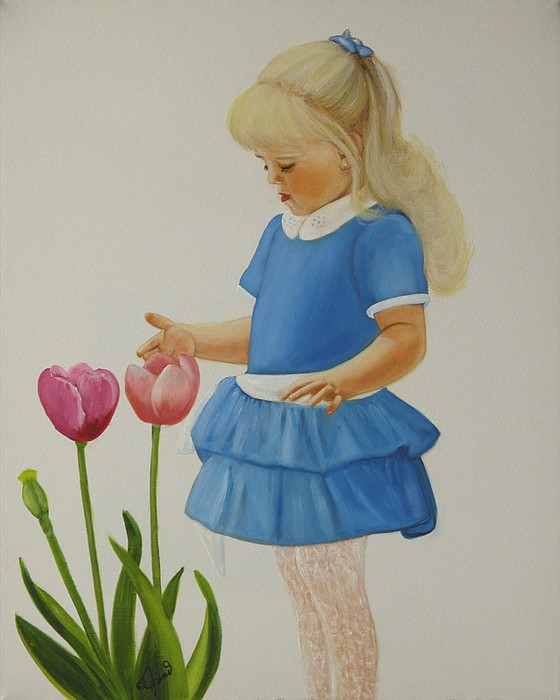 Portrait Painting - Girl With Tulips by Joni McPherson