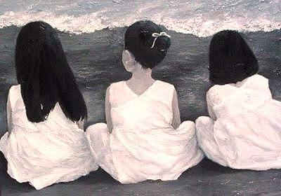 Girls Painting - Girls In White At The Beach by Patricia Awapara