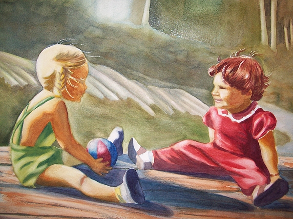 Girls Painting - Girls Playing Ball  by Marilyn Jacobson