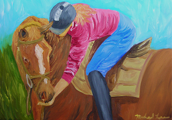 Horse Painting - Giving Sugar by Michael Lee
