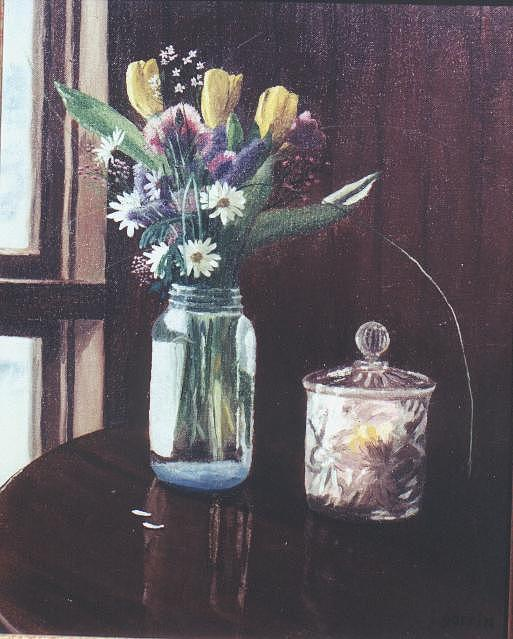Flowers Painting - Glass And Crystal by Roger E Gorrin