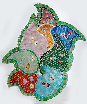 Mosaic Wall Hanging Mixed Media - Glass Flowers by Wendy Nelson