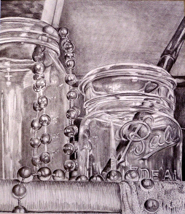Glass Jars Drawing - Glass Jars by Kate Westfall