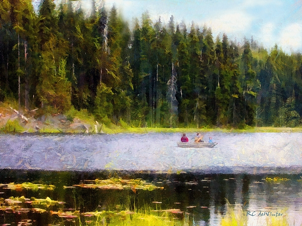 Boating Painting - Gliding Along by RC DeWinter