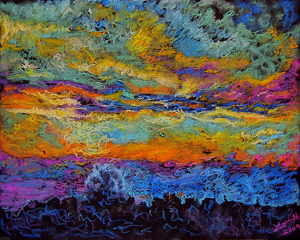 Landscape Painting - Glorious Sunset 3 by Laura Heggestad