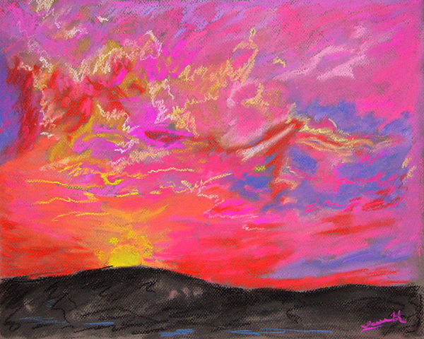 Landscape Painting - Glorious Sunset 5 by Laura Heggestad