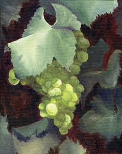 Green Grapes Painting - Glowing Grapes by Carol Grace Miller