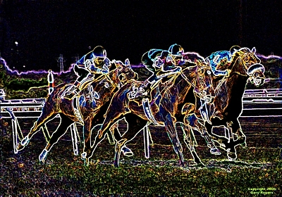 Horse Racing Digital Art - Glowing Trio by Gary Rogers