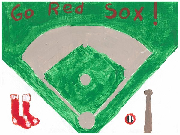 Baseball Painting - Go Red Sox by Rosemary Mazzulla