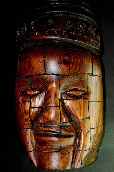 Wood Carving Sculpture - God King Of Angkor  by Owen Lohrenz
