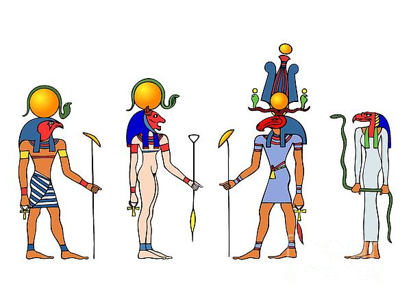 Egypt Drawing - Gods And Goddess Of Ancient Egypt by Michal Boubin