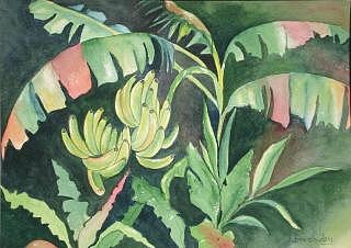 Tropical Painting - Going Bananas by Bev Chudey