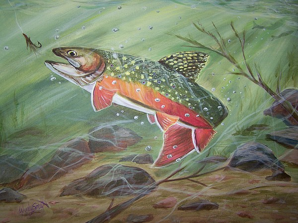 Trout Painting - Going For It by Wendy Smith