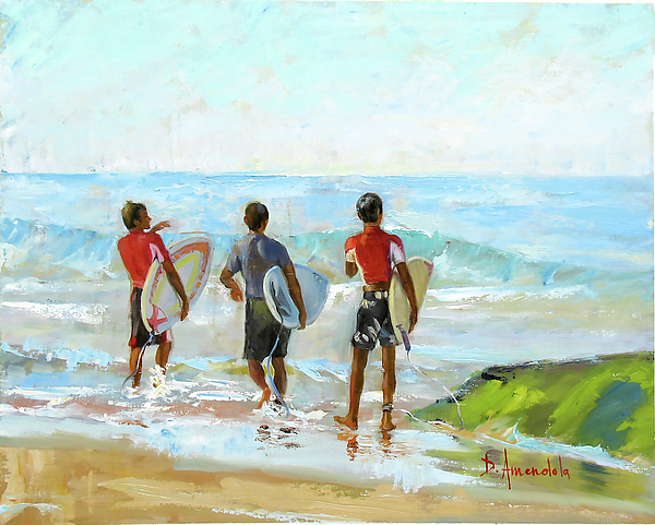 Surf Painting - Going For The Surf by Dominique Amendola